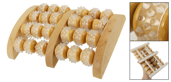 Rubber Coated Wooden 24 Roller Relief Stress Foot Massager