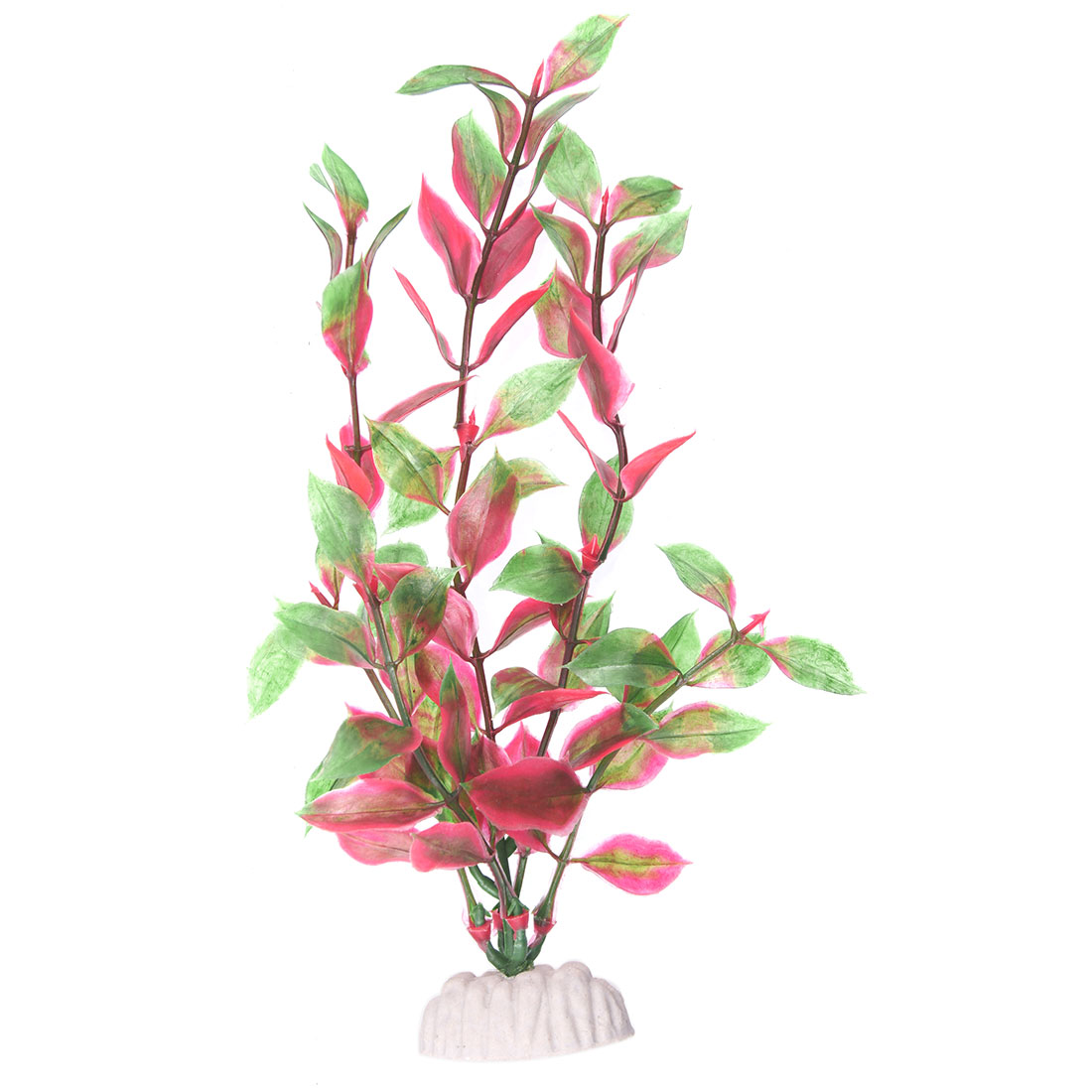 9-Green-Red-Plastic-Leaf-Plants-for-Aquarium-Fish-Tank