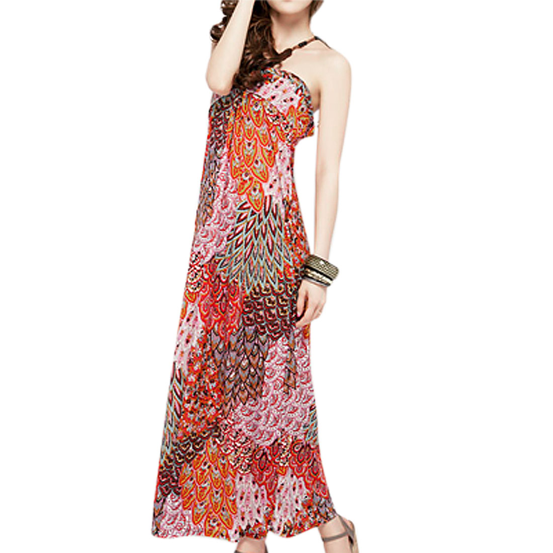 Unique Bargains Women Sleeveless Peacock Print Beaded Halter Long Dress Multi-Color S at Sears.com