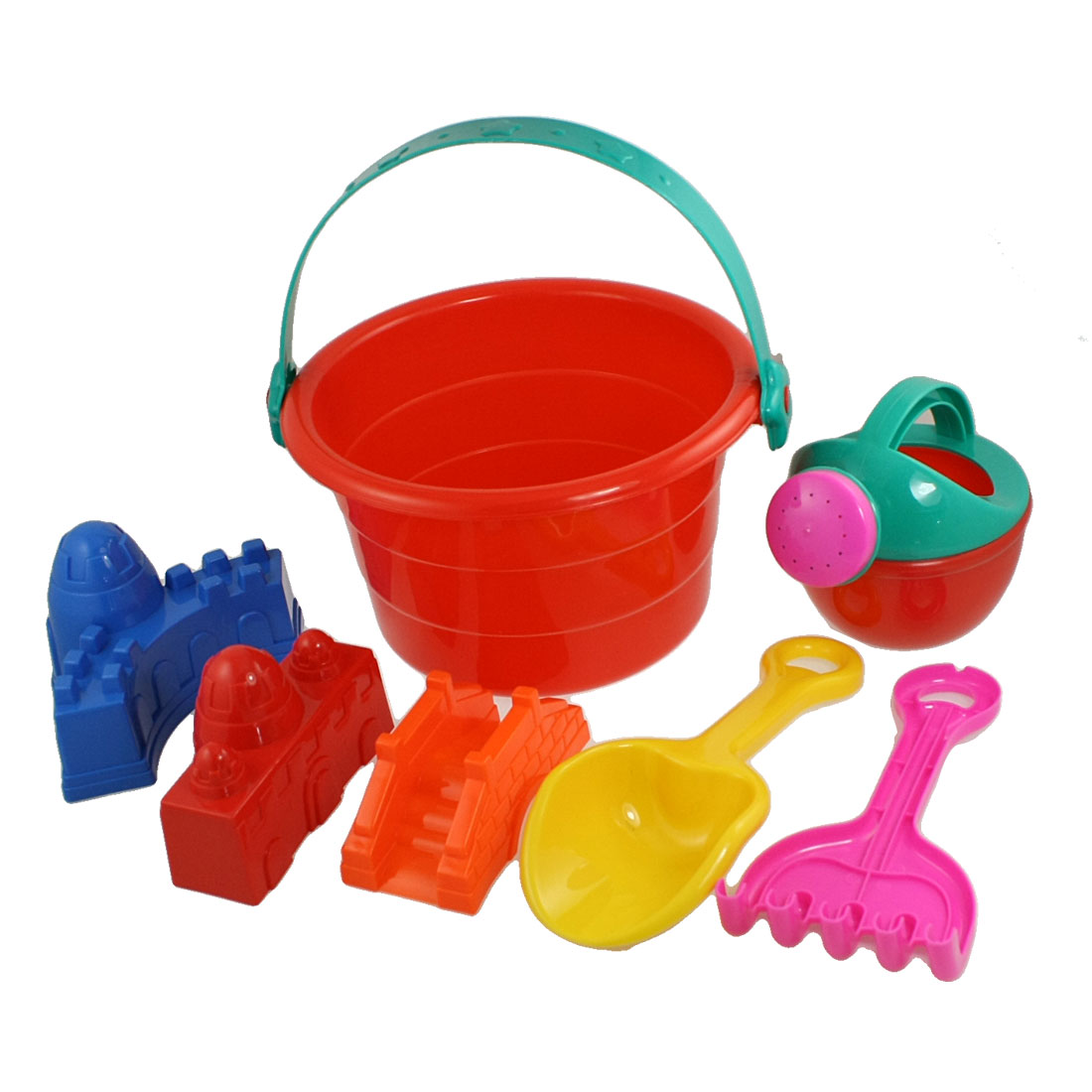 Child-Red-Plastic-Pail-Yellow-Shovel-Wall-Shaped-Sand-Mould-Summer-Beach-Toy