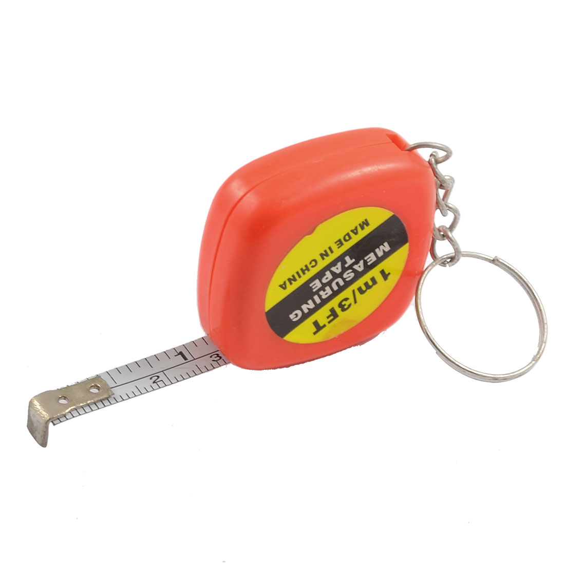 1M-Length-Orange-Red-Plastic-Shell-Retractable-Measure-Tape-w-Keyring