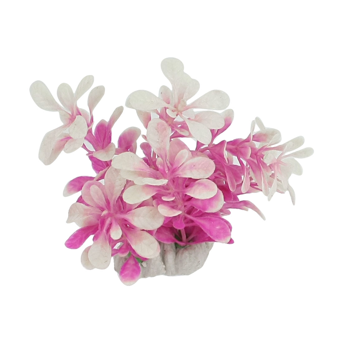 9cm-Height-Plastic-Artificial-Underwater-Plants-for-Fish-Tank-Fuchsia-White