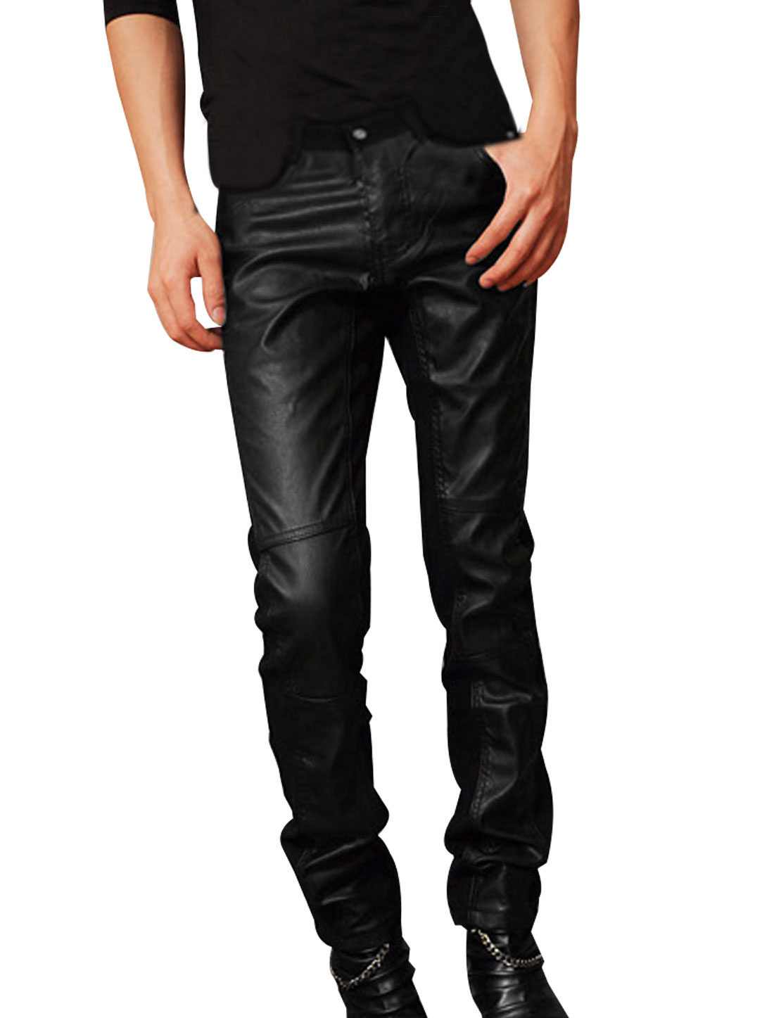Unique Bargains Mens Fashion Zip Fly Button Closure Belt Loop Detail Casual Pants Black W33 at Sears.com