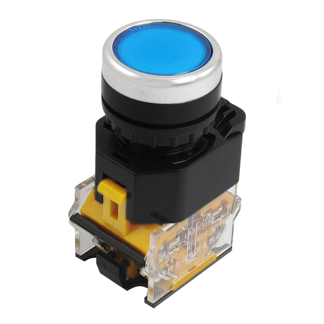 Blue-Momentary-DPST-22mm-Panel-Mount-NO-NC-Push-Button-Switch-380VAC-10-Amp