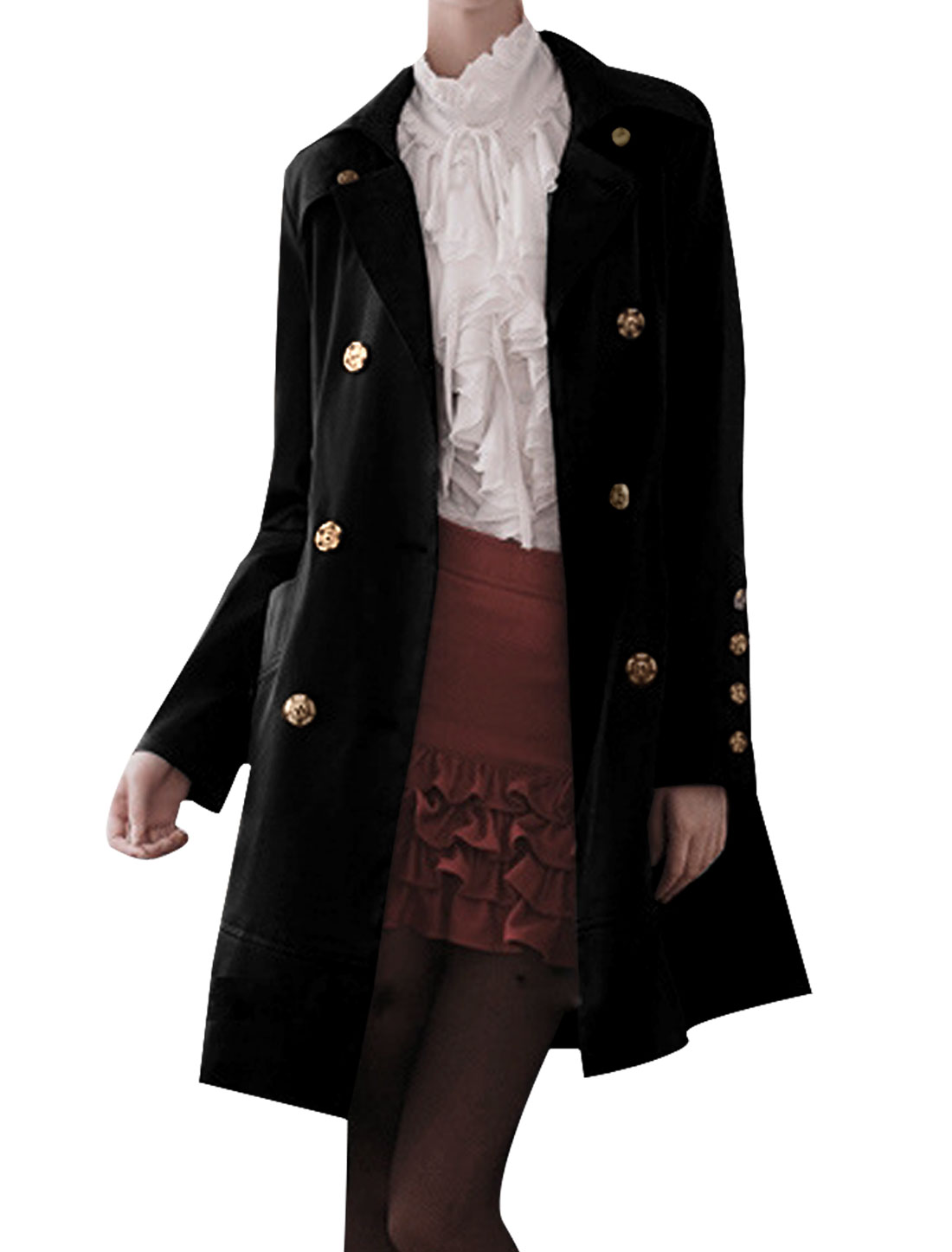 Unique Bargains Women Long Sleeve Turn Down Collar Single Breasted Trench Coat Black XS at Sears.com