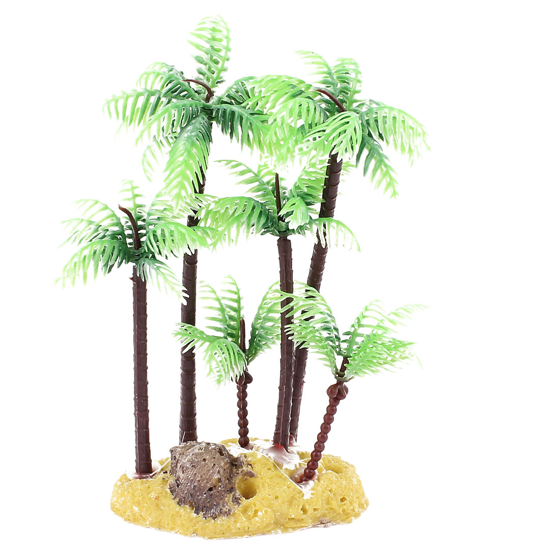Green-Brown-Plastic-Palm-Tree-Plant-Underwater-Fish-Tank-Aquarium-Ornament-5-4