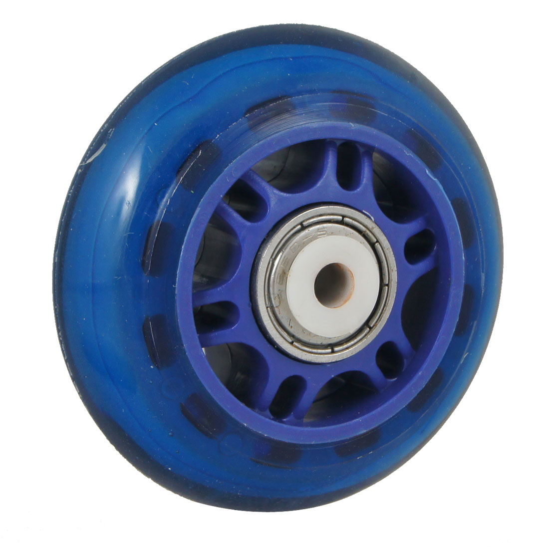 Clear-Blue-Plastic-70mm-Dia-Inline-608ZZ-Bearing-Single-Skate-Shoes-Wheel