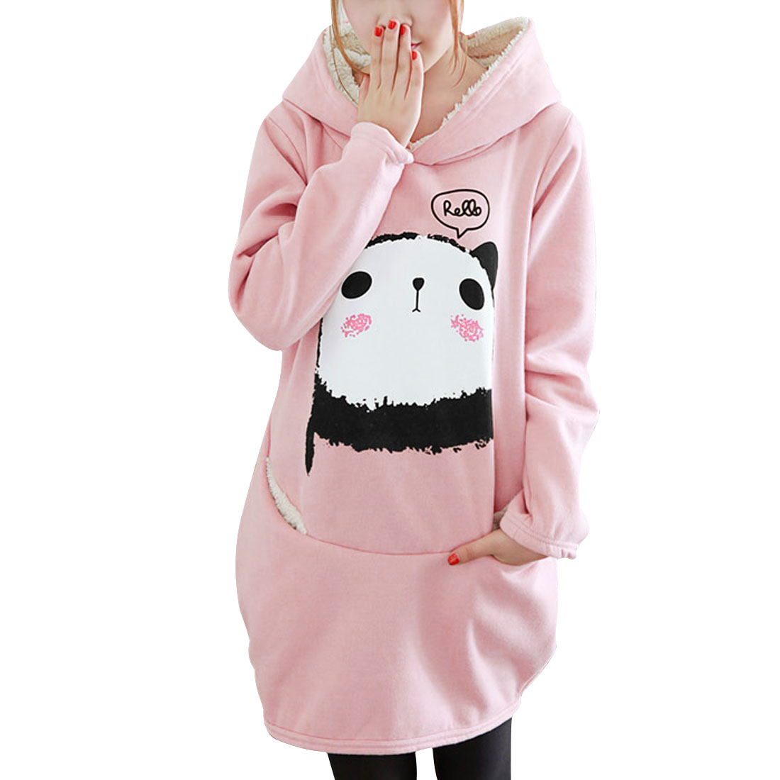 Unique Bargains Ladies Light Pink Long Sleeves Stylish Casual Pullover Hoodie XS at Sears.com