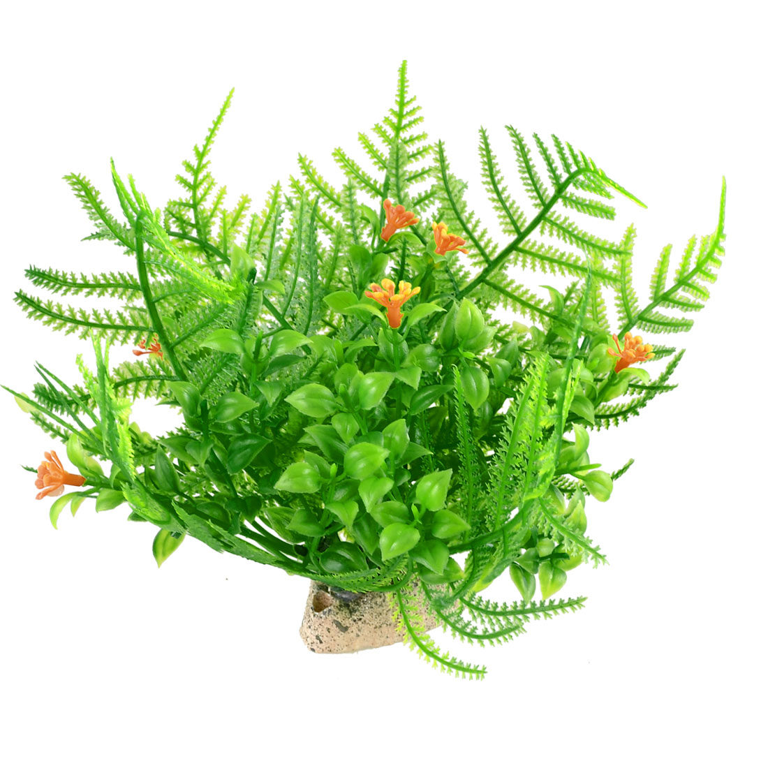 Plastic-Aquatic-Floral-Plant-Decor-Grass-Green-Orange-Red-for-Aquarium-Fish-Tank