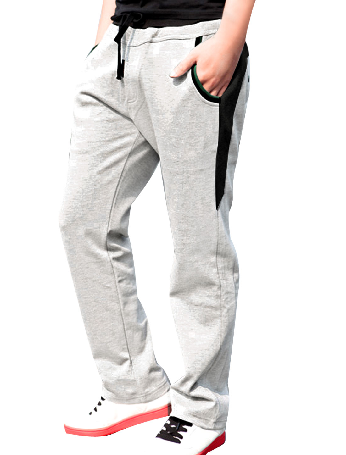 Mens-Adjustable-Waist-Ribbed-Detail-Letters-Trousers-Pants-W30-Heather-Gray