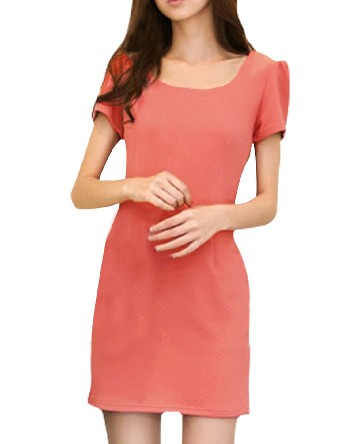NEWS-Zip-Up-Back-Short-Sleeve-Casual-Dress-for-Women-Salmon-XS