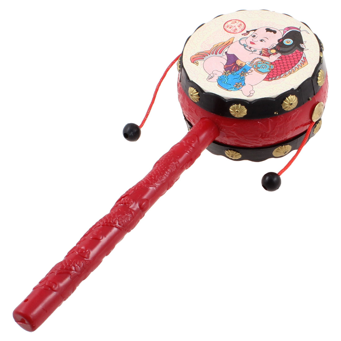 Baby-Child-Dragon-Print-Handle-Plastic-Rattle-Drum-Music-Toy-Red