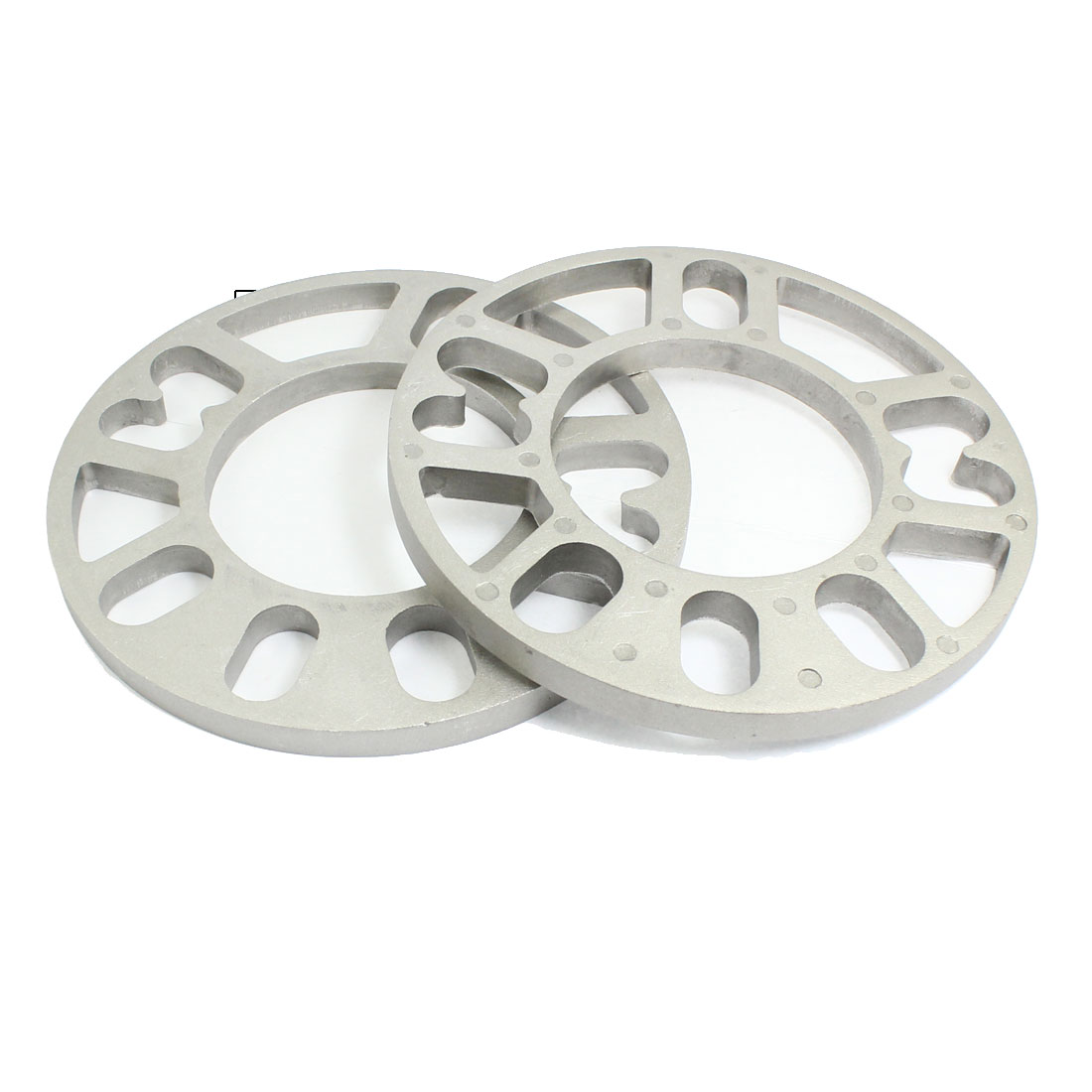 Car-Vehicle-4-and-5-Lug-10mm-Thickness-Wheel-Rims-Spacers-Silver-Tone-2pcs