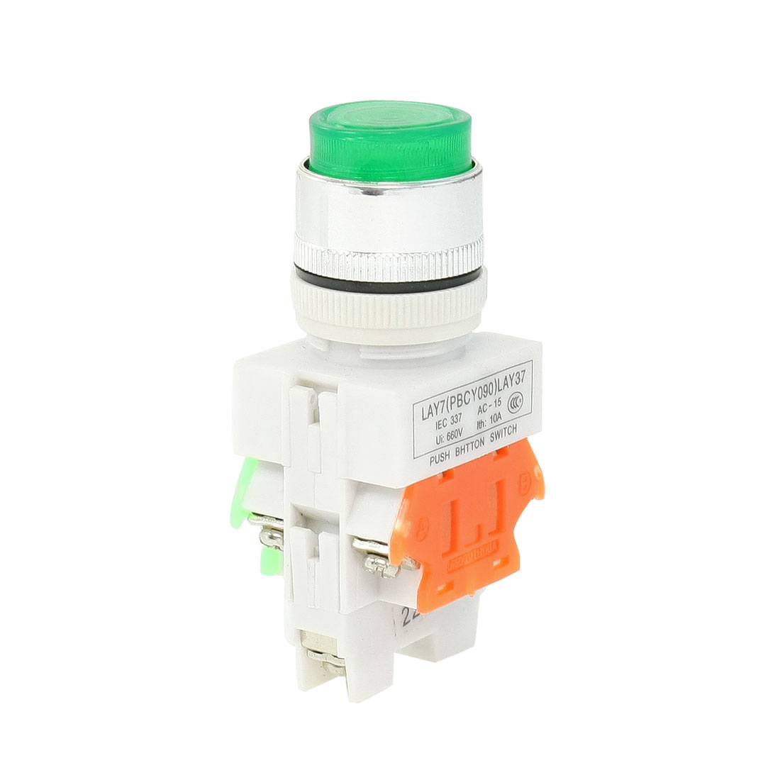 AC-660V-10A-Green-LED-Light-Momentary-Push-Button-Switch-22mm-1-NO-1-NC