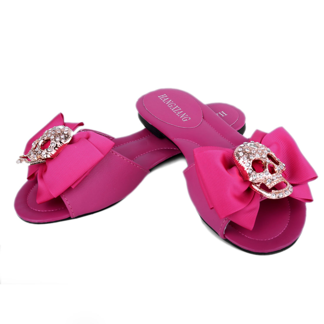 Unique Bargains Ladies Skull Bowknot Detail Casual Slippers Fuchsia US 6.5 at Sears.com