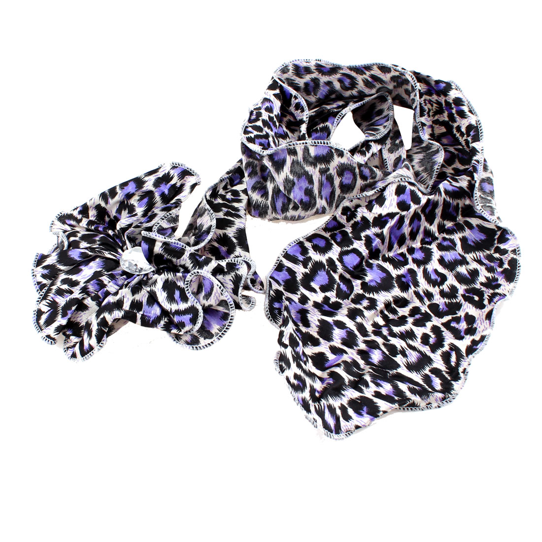 Lady-Party-Leopard-Pattern-Flower-Design-Hairclip-Purple-Black-White