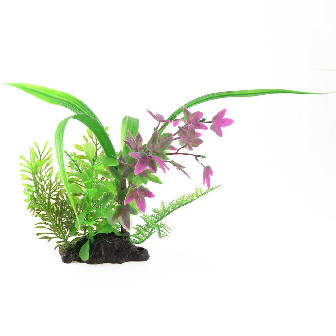 9-4-Fish-Tank-Landscaping-Ornament-Plastic-Water-Grass-Plants-Green-Violet