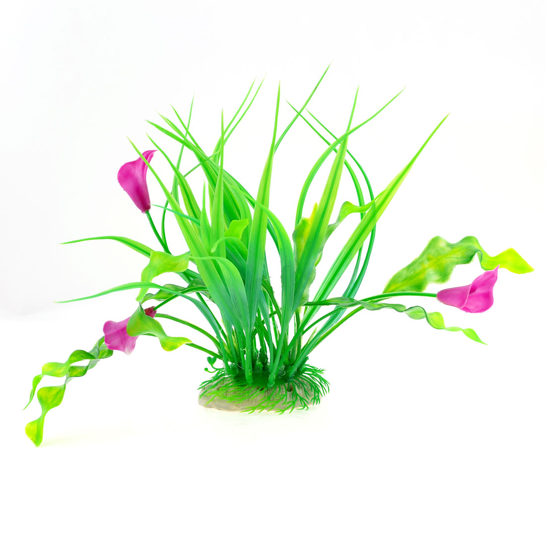 Flower-Ceramic-Base-Accent-Plastic-Waterweeds-Green-Purple-for-Fish-Tank