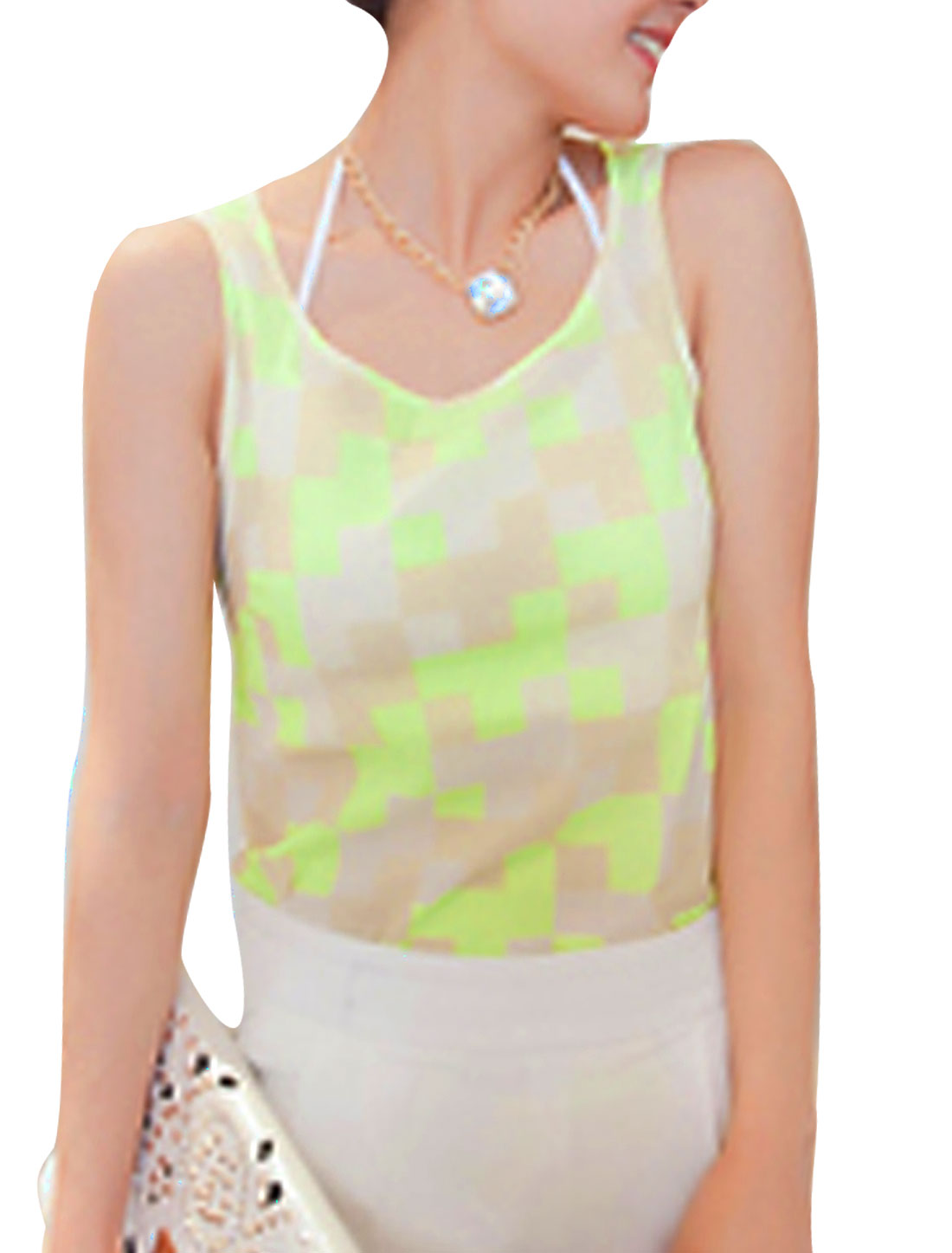 Ladies-Round-Neck-Sleeveless-Plaids-Casual-Tank-Top-Lime-Khaki-XS