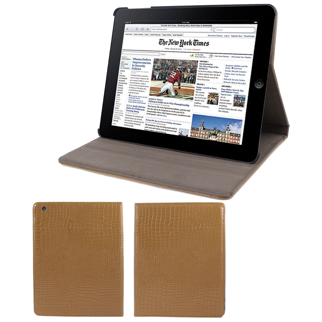 """Unique Bargains Brown Crocodile Pattern Faux Leather Folio Stand Case Cover for 9.7"""" iPad 2 3 4 at Sears.com"""