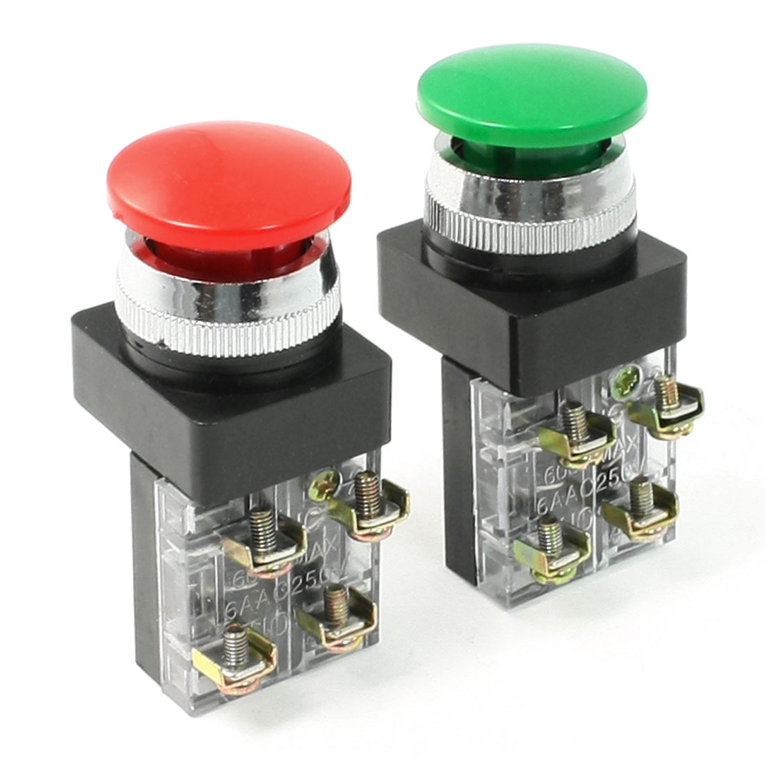 AC-250V-6A-Green-Red-Sign-Mushroom-Momentary-Pushbutton-Switch-Non-Lock-SPDT