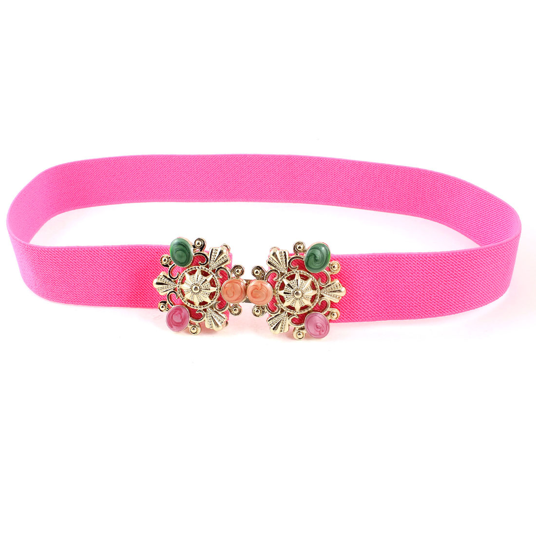 Pink-Metal-Floral-Decor-Interlock-Buckle-Elastic-Waist-Belt-for-Lady