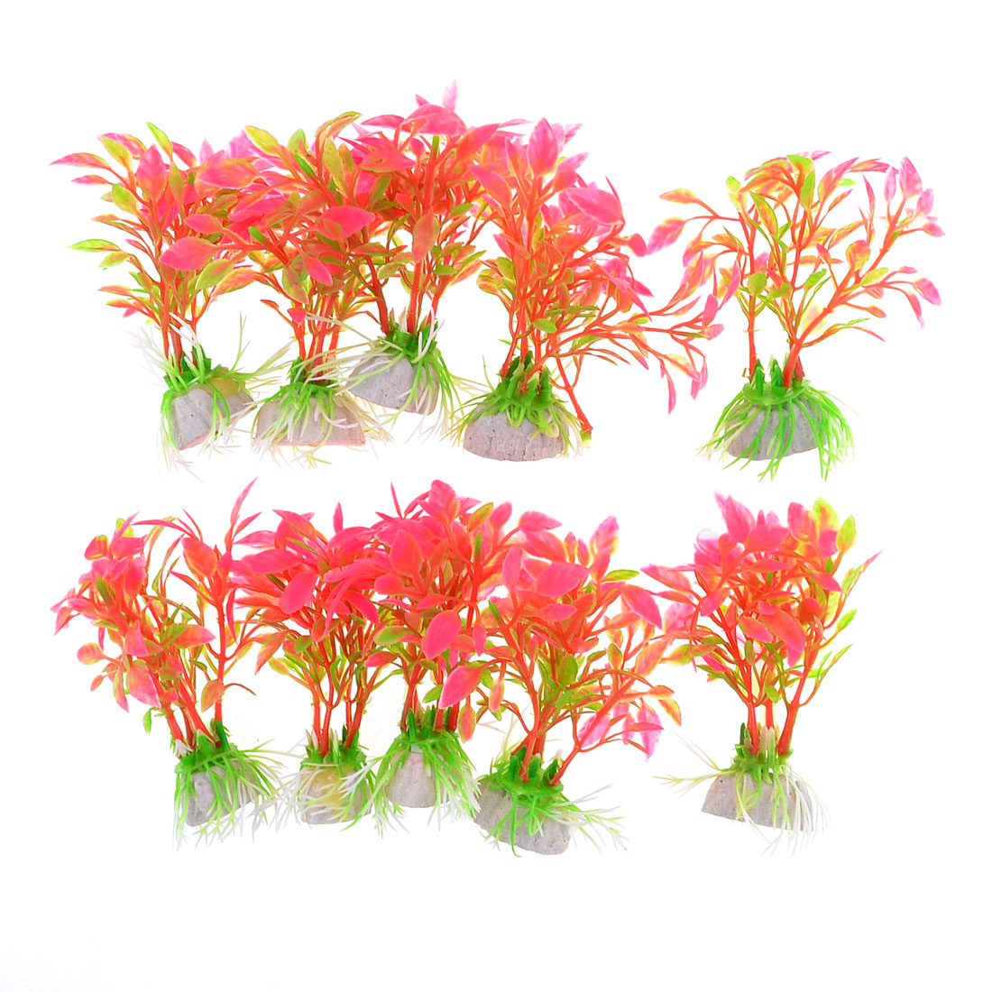 10-Pcs-3-9-Height-Aquarium-Fish-Tank-Fuchsia-Red-Plastic-Water-Plants