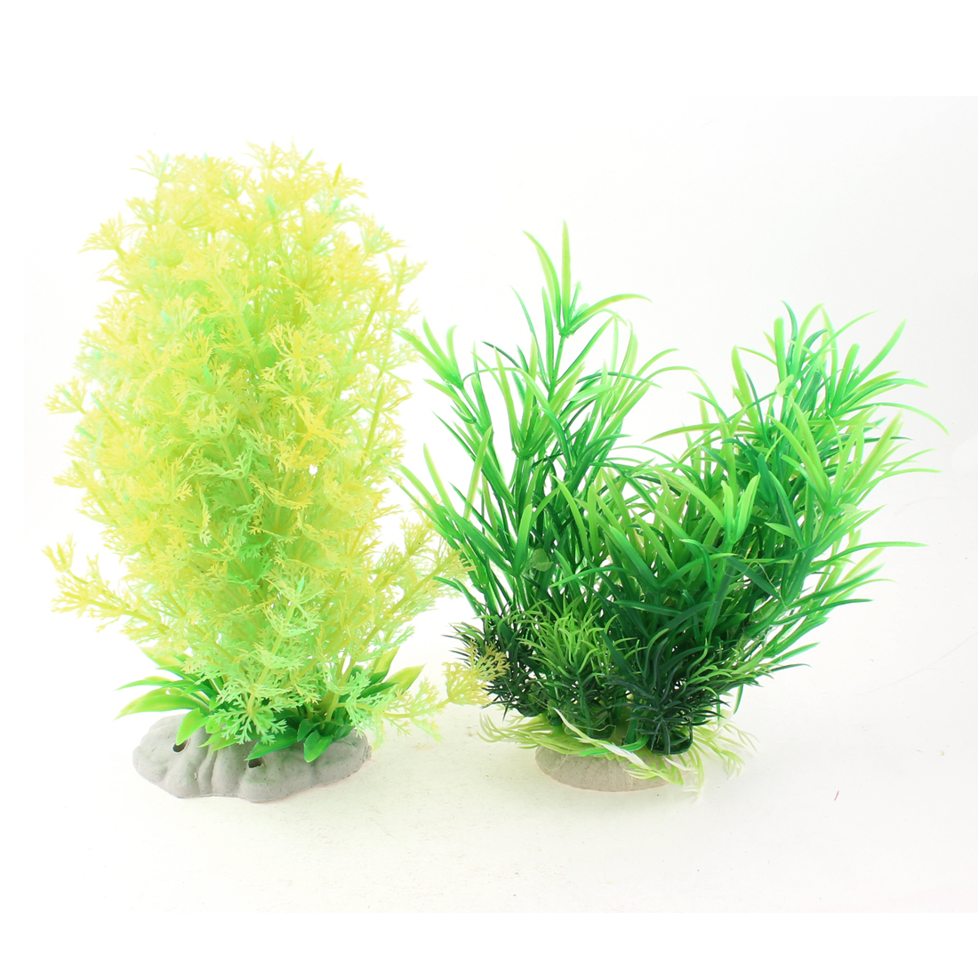 2-Pcs-Yellow-Green-Plastic-Plants-Waterweeds-Decor-9-for-Aquarium-Fish-Tank