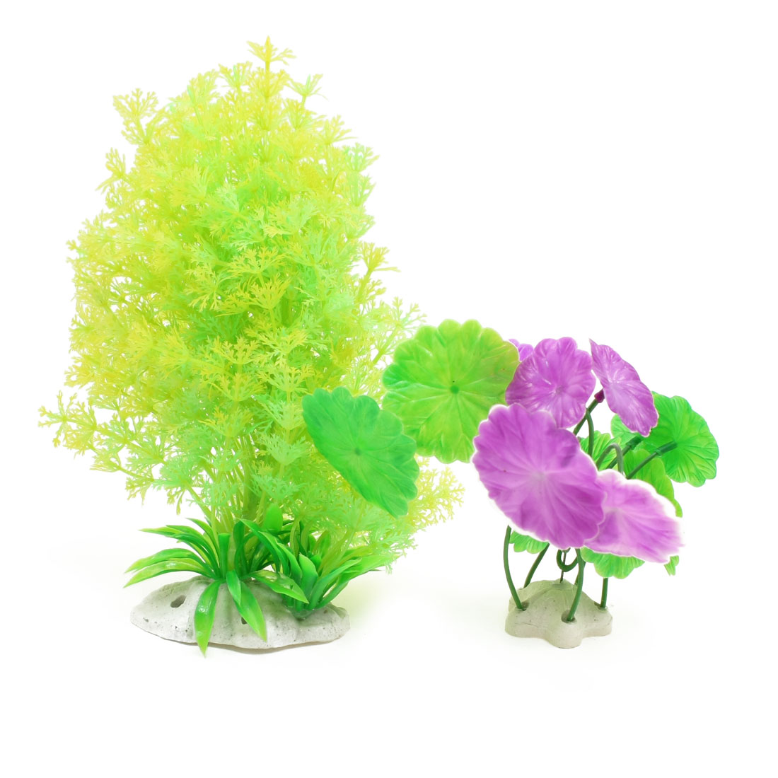Fish-Tank-5-9-Yellow-Purple-Plastic-Round-Leaves-Aquatic-Plants-2-Pcs
