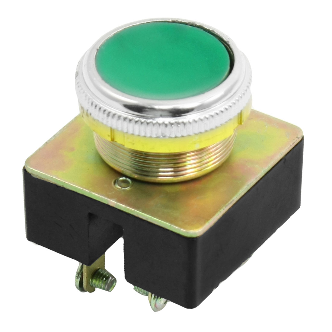 Green-Round-Cap-Momentary-DPST-Contact-4-Pin-Push-Button-Switch-AC-380V