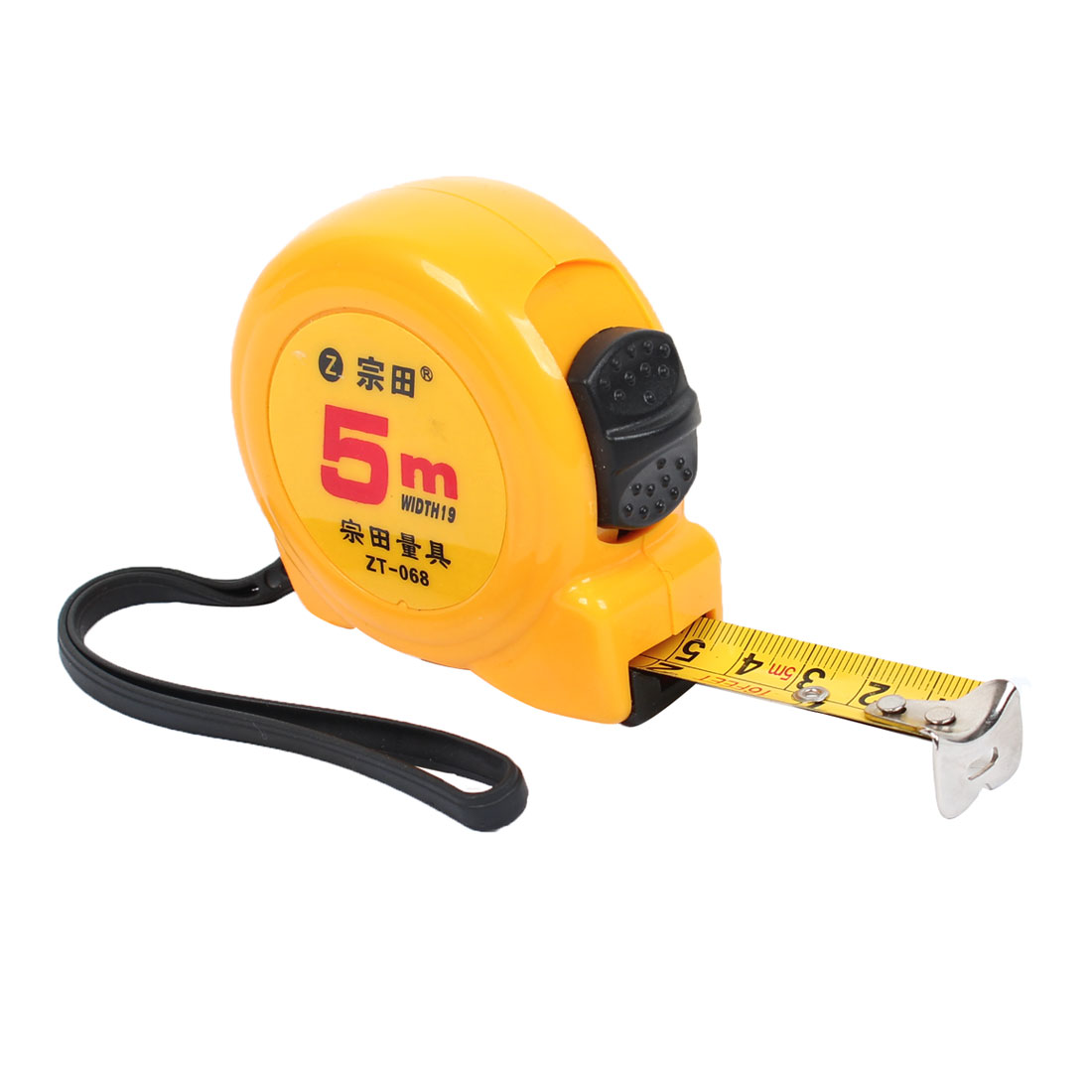 Yellow-Metal-Retractable-Ruler-Tool-Measuring-Tape-5-Meters-w-Strap