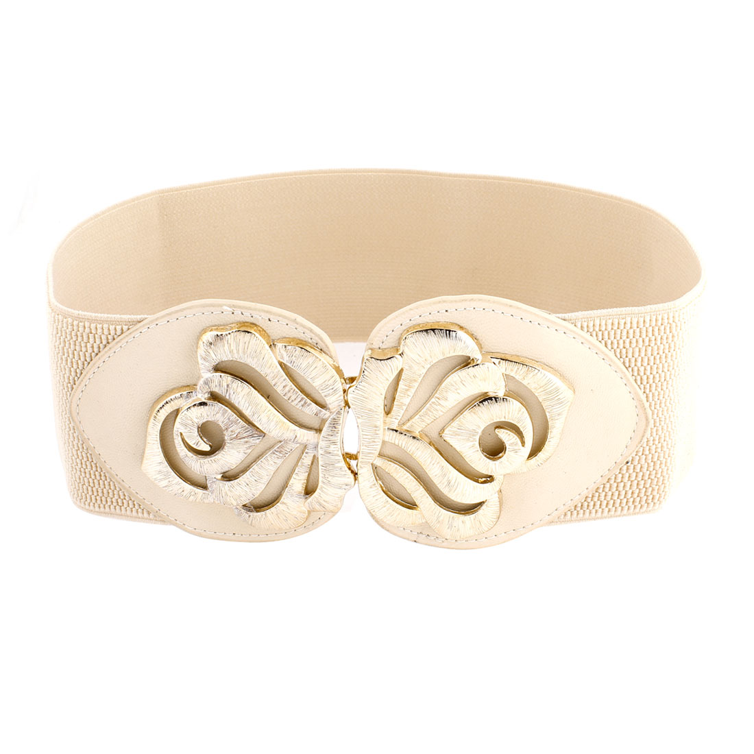 Ladies-Gold-Tone-Flower-Decor-Interlocking-Buckle-Elastic-Waist-Belt-Beige