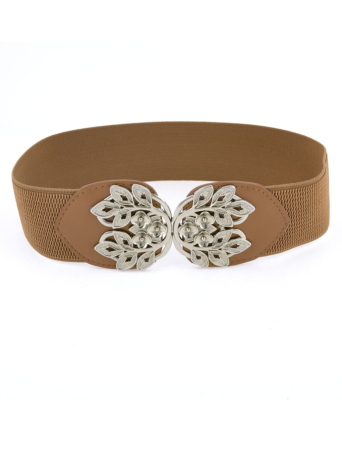 Women-Flower-Shape-Interlocking-Buckle-Elastic-Cinch-Waist-Belt-Brown