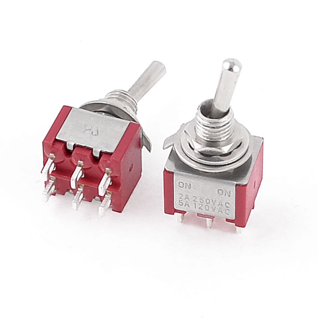 2-Pcs-AC-250V-2A-120V-5A-ON-ON-2-Way-DPDT-6-Pins-Toggle-Switch