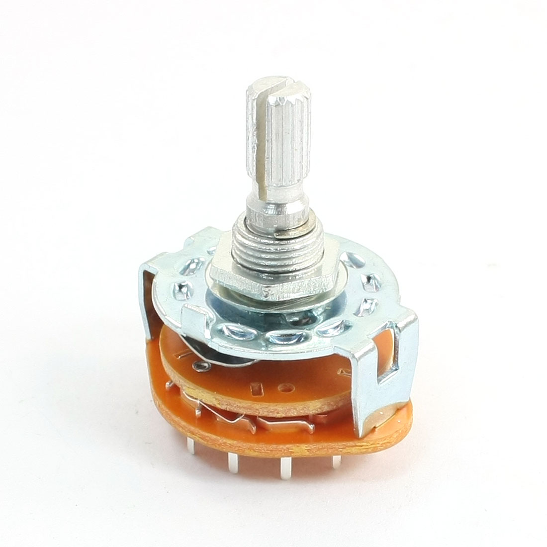 Double-Deck-6mm-Dia-Kunrled-Shaft-15-Terminals-3-Pole-4-Position-Rotary-Switch