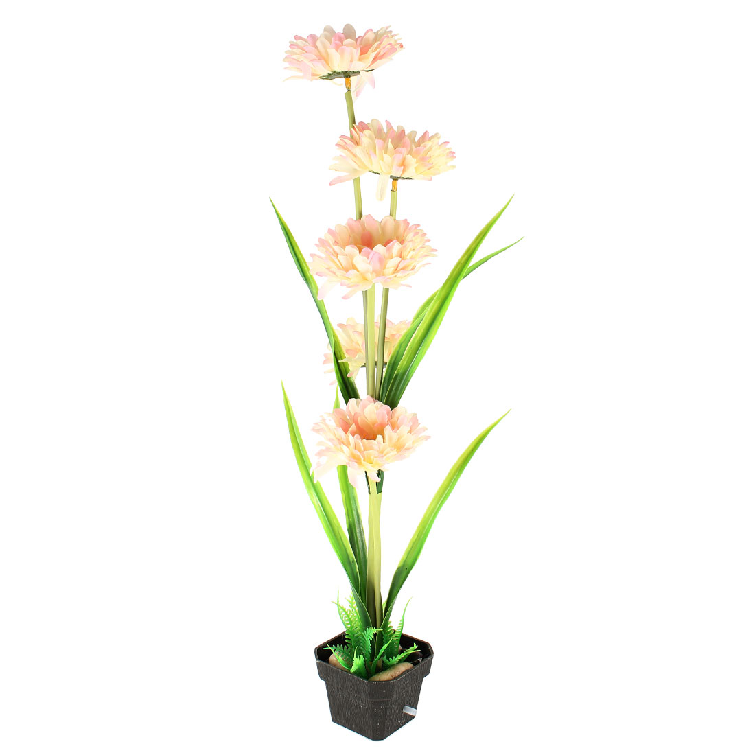 Fish-Tank-9-8-High-Plastic-Beige-Pink-Flower-Grass-Plants-w-Air-Stone