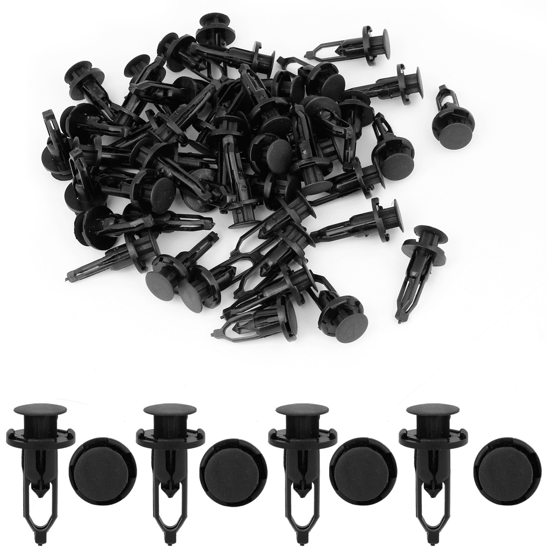 50-Pcs-9mm-Hole-Dia-Plastic-Push-Fastener-Rivets-Clips-Black-for-Toyota