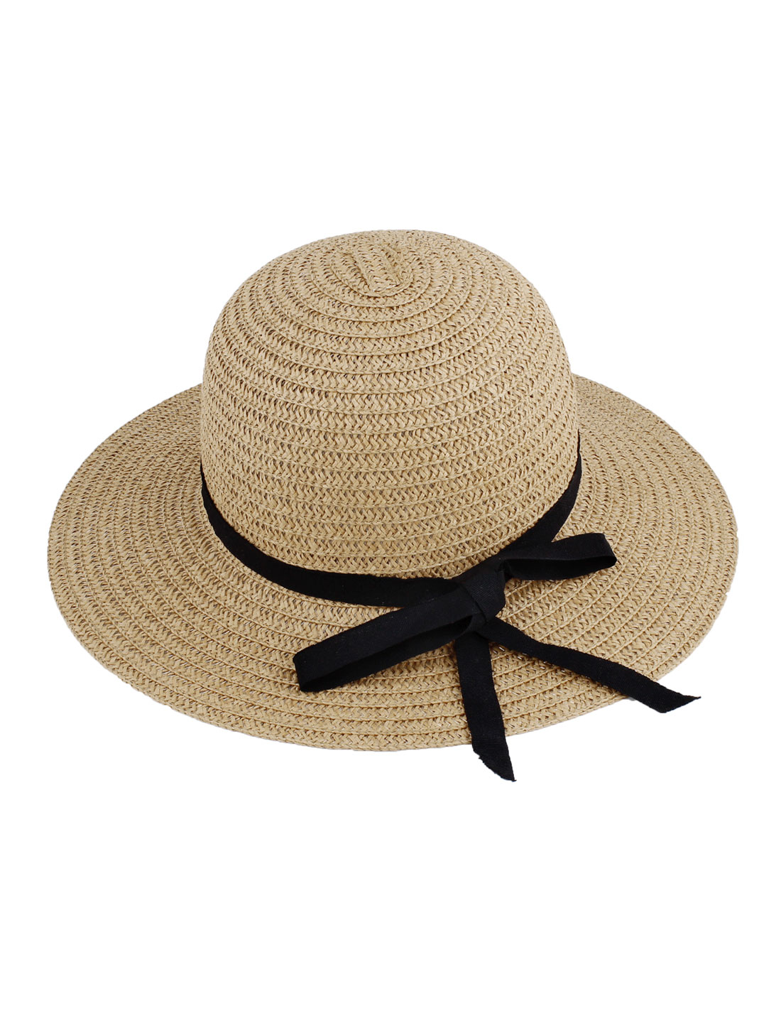 Women Braided 9cm Width Brim Bowknot Decor Beach Sun Straw Lierihattu Hat