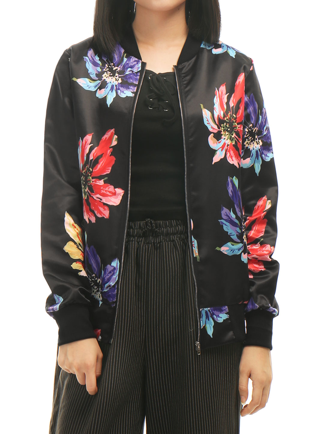 Women-Stand-Collar-Floral-Prints-Ribbed-Trim-Full-Zip-Jacket