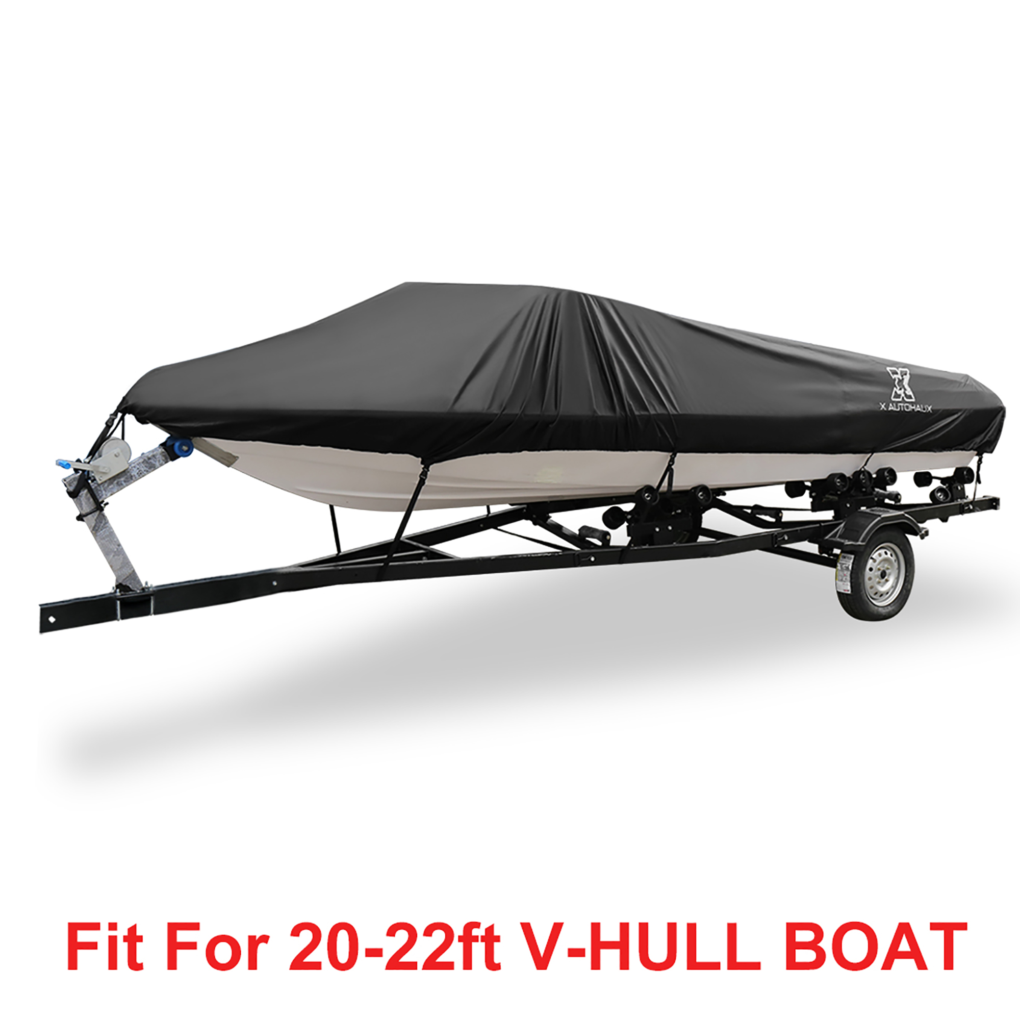 300D Polyester PU Boat Cover 14/' 16/' 18/' 19/' 20/' Waterproof For V-Hull Tri-Hull