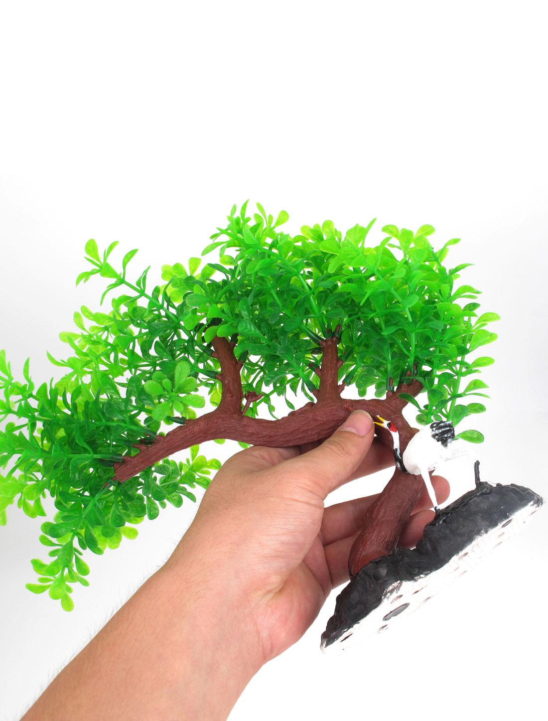 """10.6"""" Haut Plante d'aquarium Feuille Vert Branche d'arbre avec Décor Grue oiseau 2"""
