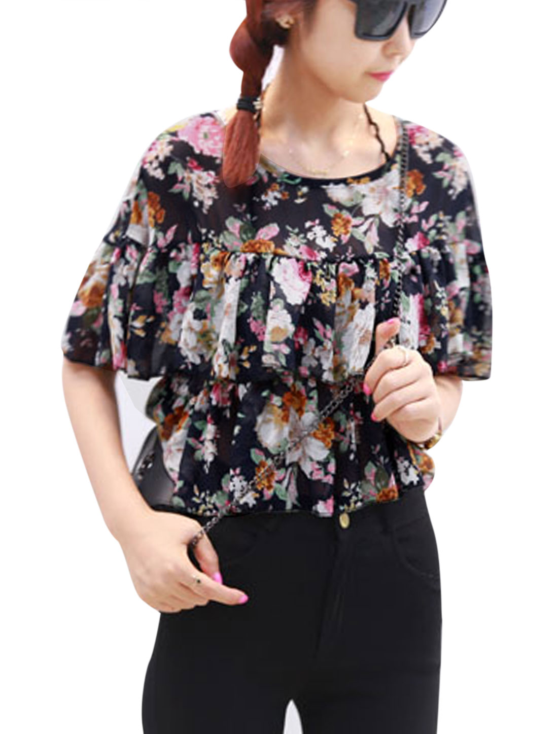 Lady-3-4-Trumpet-Sleeve-Flower-Pattern-Tiered-Design-Lining-Top