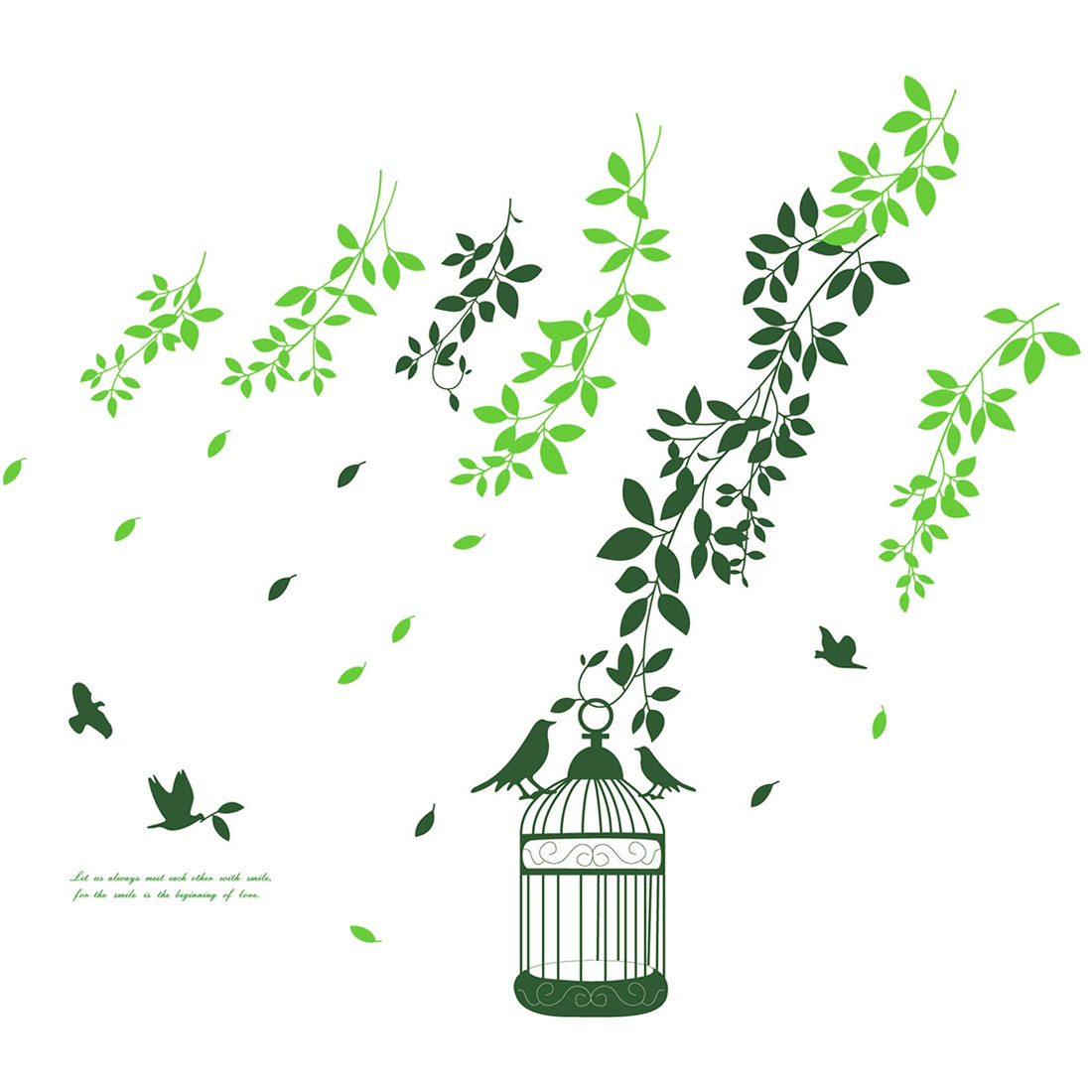 Home Room Decor Green DIY Removable PVC Leaves Birds Sticker Decal 1.3 x 1m