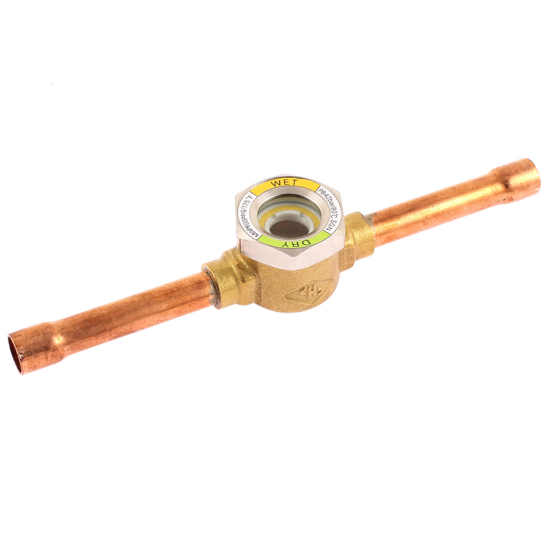 "3/8"" Flare Tube Liquid Moisture Indicator Sight Glass 155mm for Refrigerator"
