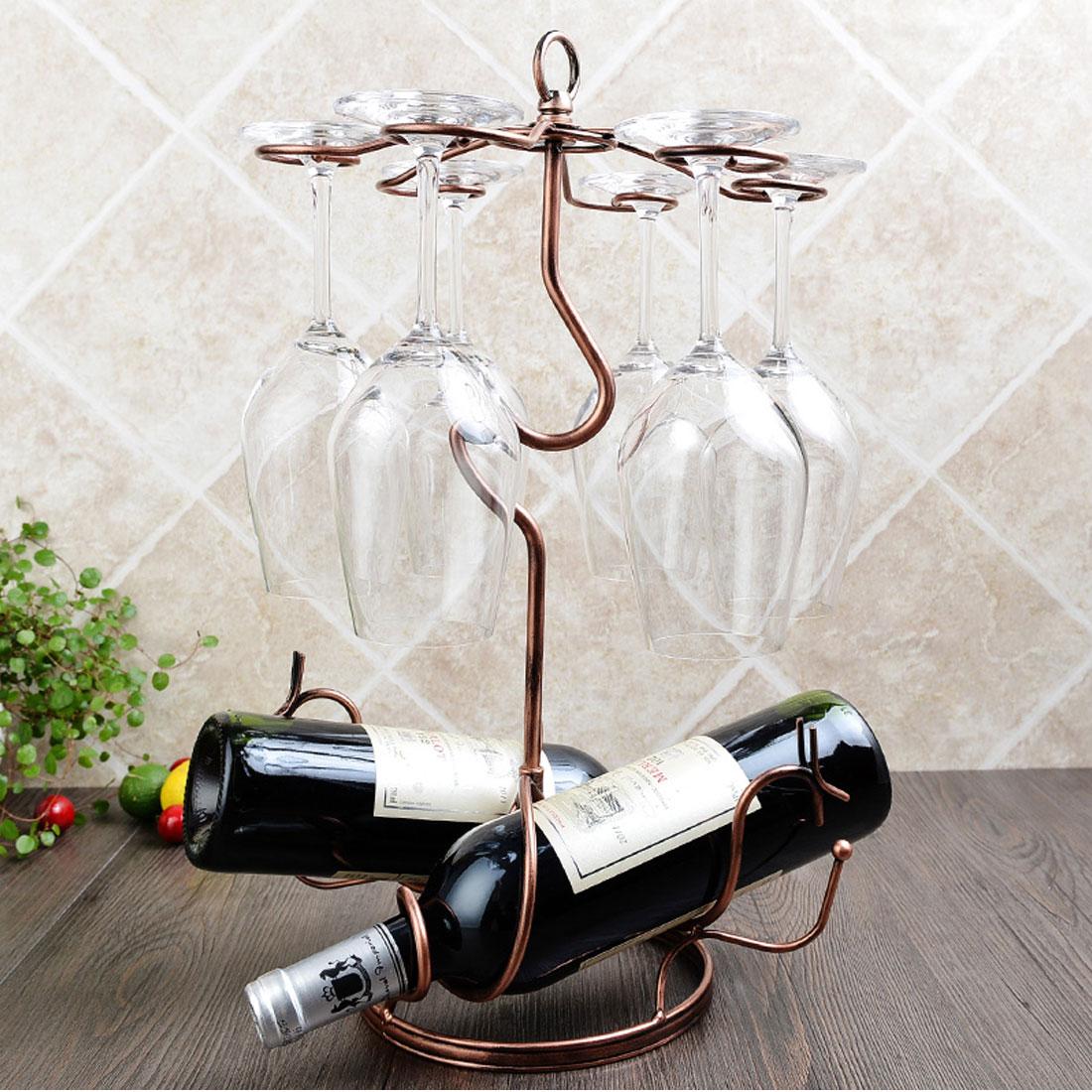 Metal Tabletop 6 Wine Glass Drying Rack Holder Display Stand 46x26cm Brass Tone 5