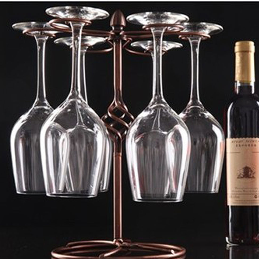 Metal Tabletop 6 Wine Glass Drying Rack Ring Display Stand Champagne Color 5