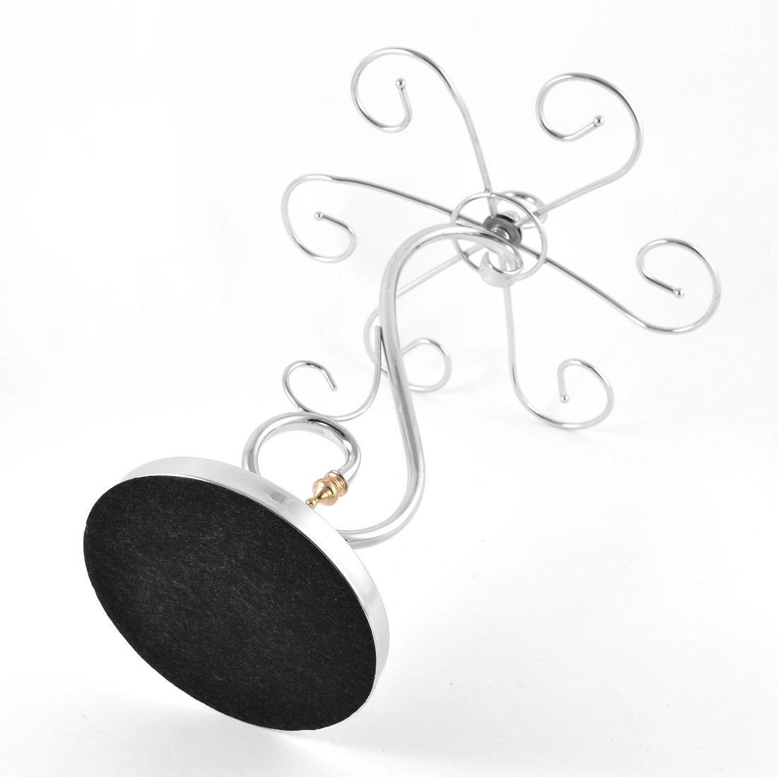 Metal Elegant Tabletop 6 Wine Glass Drying Rack Ring Display Stand Silver Tone 3