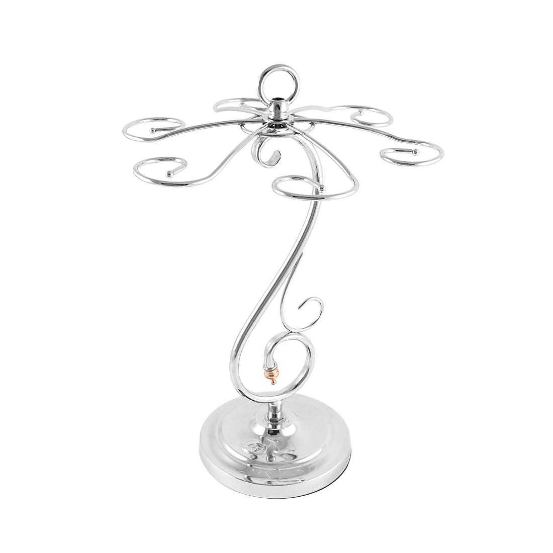 Metal Elegant Tabletop 6 Wine Glass Drying Rack Ring Display Stand Silver Tone