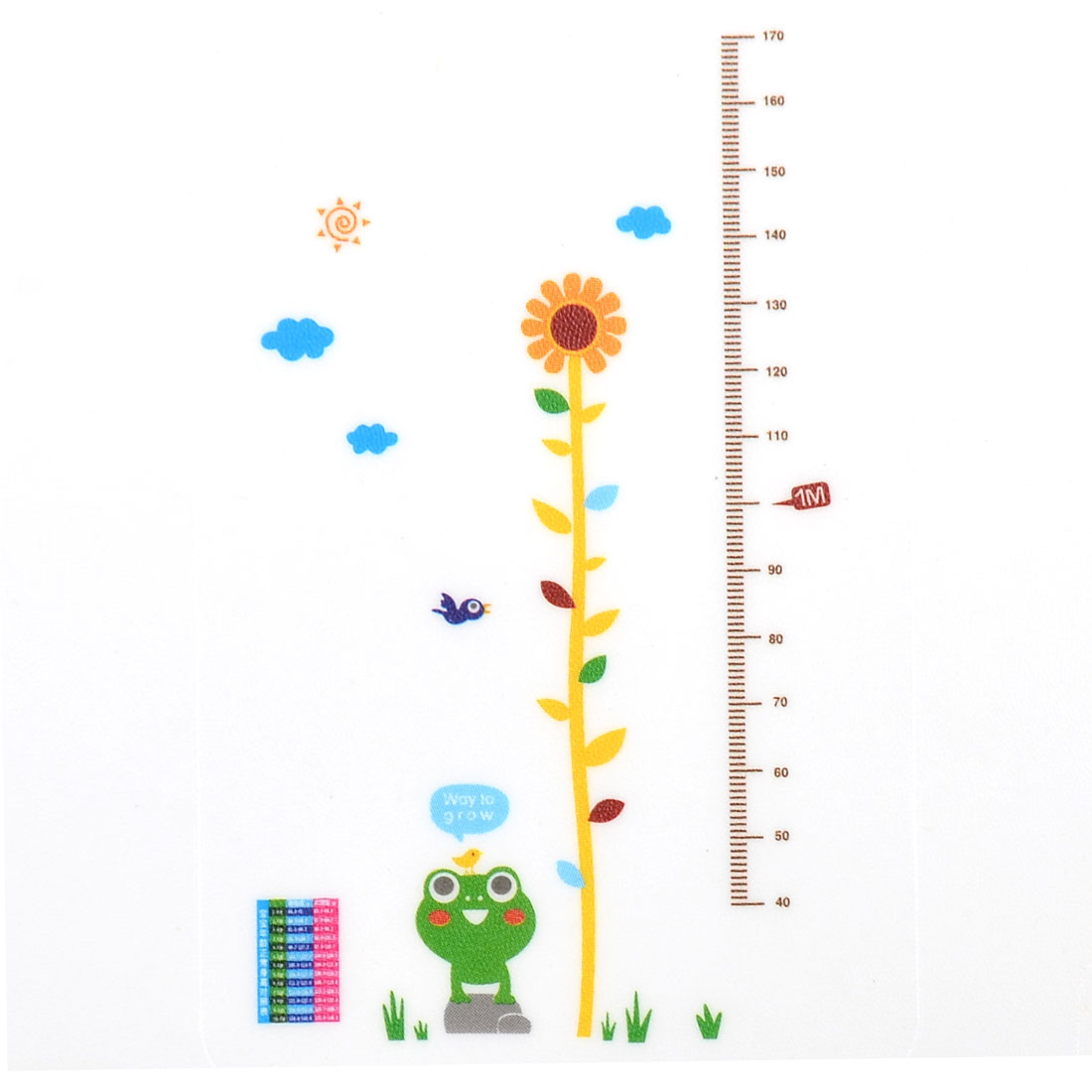 Flower Fog Growth Height Measure Chart Pattern Wall Sticker 70x50cm