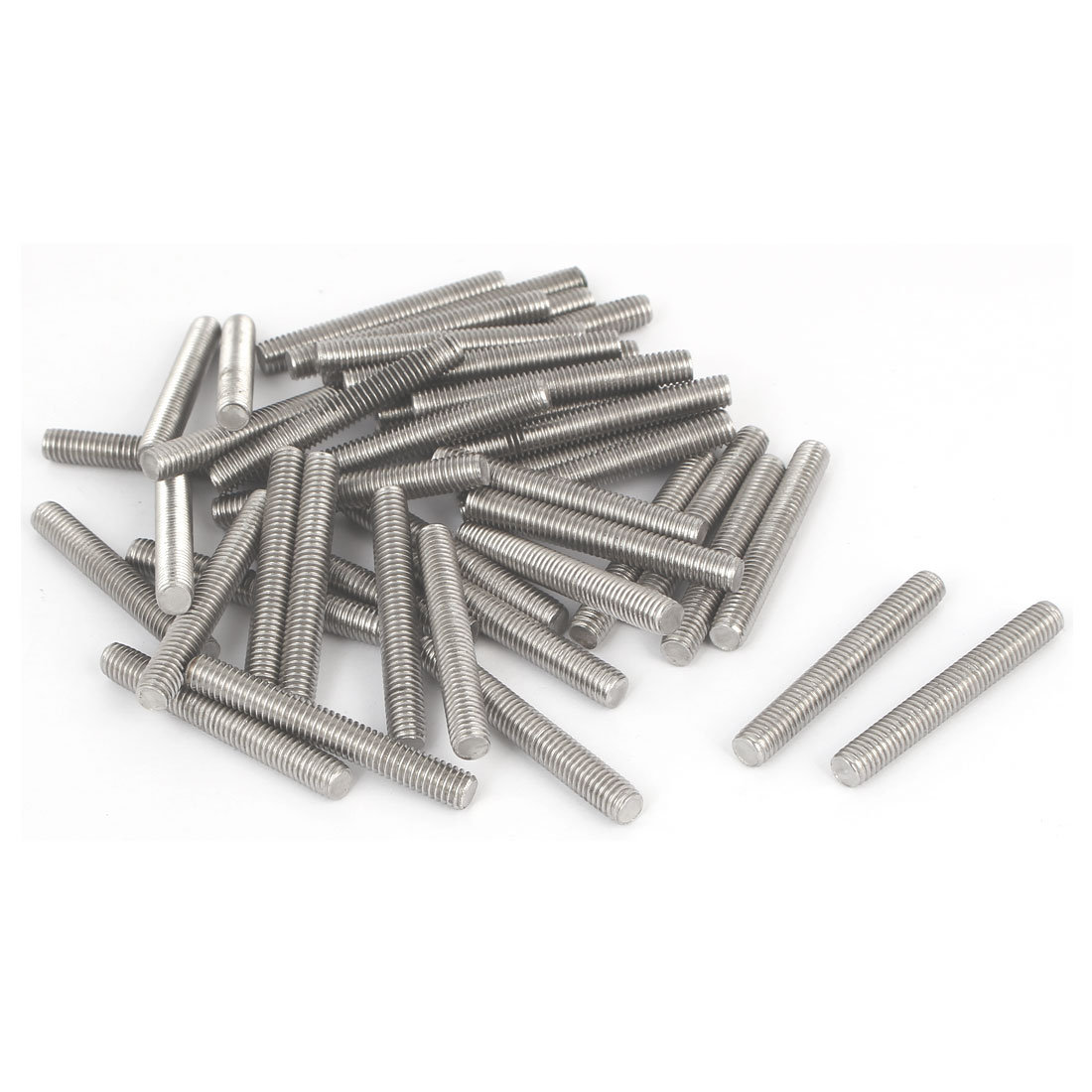 M6-x-45mm-Male-Threaded-304-Stainless-Steel-Rod-Bar-Studs-Hardware-20-Pcs